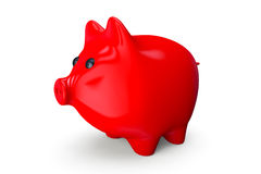 Red Piggy bank style money box. On a white background Stock Image