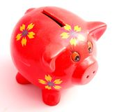 Red piggy bank Royalty Free Stock Images