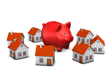 Red Piggy Banks Homes Royalty Free Stock Images