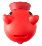 Red Piggy moneybank. A red plastic piggy whit the slot in the back Royalty Free Stock Photo