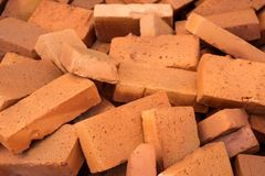 Red pile of bricks for construction site.  Stock Image