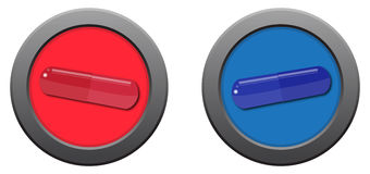 Red Pill Blue Pill Icons Stock Photo
