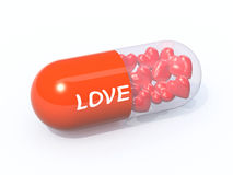 Red pill filled with hearts. Red pill with written love filled with hearts, isolated 3d illustration Stock Photos