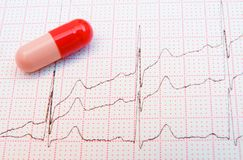Red Pill raises the Heart Rate. Red medicine capsule on a cardiogram trace royalty free stock photo