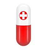 Red pill with the red cross. Isolated on white background Stock Image