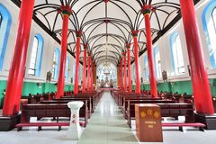 The red pillars of the Catholic Church in China royalty free stock photo