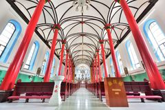 The red pillars of the Catholic Church in China stock image