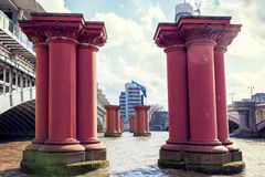 Red pillars for the construction of a bridge Stock Photo
