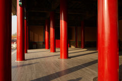 Red pillars of Forbidden City Stock Images