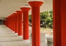 Red pillars in a row photo taken in Semarang Indonesia Stock Photos