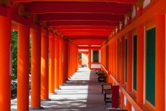 Red pillars in Sanjusangen-do Buddhist temple in Kyoto royalty free stock image