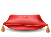 Red pillow for awards. From front view, isolated on white Stock Photo