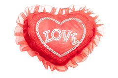 Red pillow heart with the inscription: love Royalty Free Stock Images