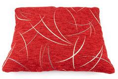 Red pillow. With white decorations photographed on a white background Stock Photo