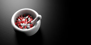 Red pills capsules in a white mortar on black background. Banner, view from above. 3d illustration. Red pills capsules in a pharmaceutical mortar on black Royalty Free Stock Images
