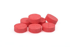 Red pills closeup macro photography Stock Photo