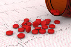 Red pills. 3D model of red pills spilled on electrocardiogram (ECG) report Stock Images
