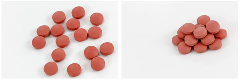 Red pills pile collage white background Royalty Free Stock Photography