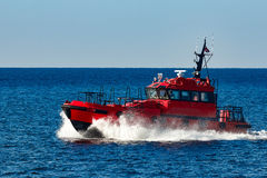 Red pilot boat Stock Image