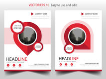 Red pin annual report Brochure design template vector. Business Flyers infographic magazine poster.Abstract layout template ,. Book Cover presentation portfolio Royalty Free Stock Photography