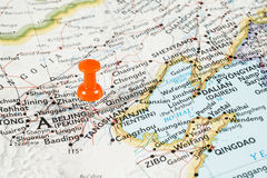 Red pin on Bejing map Royalty Free Stock Image