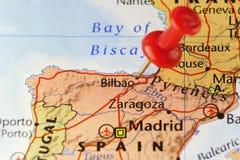 Red pin on Bilbao, Spain Stock Photo