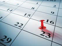 Red pin on calendar Royalty Free Stock Image