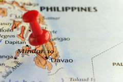 Red pin on Davao, Philippines. Copy space available Stock Photo