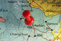 Red pin on Harbin, China. Copy space available royalty free stock photography