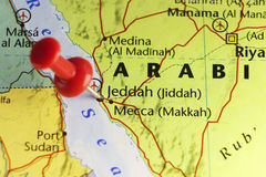 Red pin on Jeddah, Saudi Arabia. Copy space available Royalty Free Stock Image