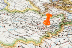 Red pin on Kabul map Royalty Free Stock Images