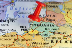 Red pin on Kaliningrad, Russia Stock Images