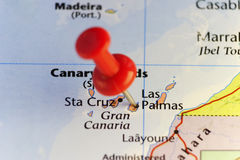 Red pin on Las Palmas, Canary islands Royalty Free Stock Images
