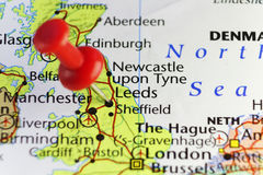 Red pin on Leeds, England, UK Royalty Free Stock Photography