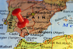 Red pin on Malaga, Spain Royalty Free Stock Photos