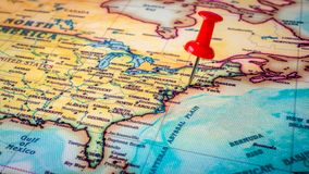 Red pin on New York. Red pin on map of America, New York city. US stock images