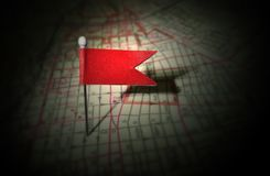 Red pin map. Red flag pin in urban street map Royalty Free Stock Images