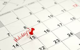 Red pin marking the 15th on a calendar Stock Photography