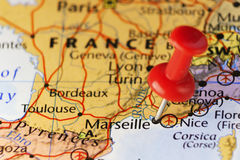 Red pin on Marseille France. Copy space available Royalty Free Stock Photos
