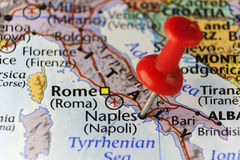 Red pin on Naples, Italy. Copy space available Stock Photos