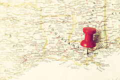 Red pin on New Orleans Stock Photography