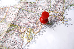 Red pin on new york Royalty Free Stock Photos