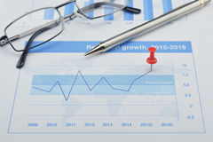 Red pin and pin on financial graph, Target and win concept. Red pin with pen and glasses on financial graph, Target and win concept Royalty Free Stock Photos