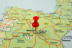Red pin pointing on madrid Stock Photography
