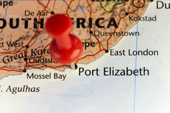 Red pin on Port Elizabeth, South Africa. Copy space available Royalty Free Stock Photos
