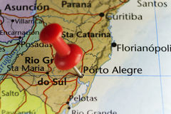 Red pin on Porto Alegre, Brazil. Copy space available Stock Photos