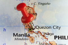 Red pin on Quezon City, Philippines. Copy space available royalty free stock photo