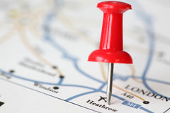 Red pin shows our destination on map. We will landing at Heathrow airport Royalty Free Stock Image