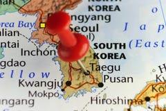 Red pin on Taegu, South Korea Royalty Free Stock Photos