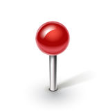 Red pin  on white background. Single red pin  on white background Royalty Free Stock Photos